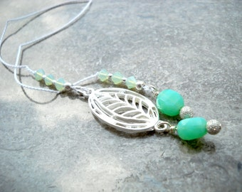 """Silver leaf silk cord bookmark: """"Pristine"""" - Gifts under 10, gifts for bookworms, gifts for readers, silver bookmark, leaf bookmark"""