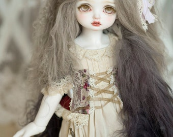 "10in"" Long Khaki Grey Gradient Mohair Wavy Wig for Volks BJD SD Dolls"