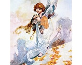 Goddess of Autumn Greeting Card | Angel with Fall Leaves and Flowers | Repro Charles Robinson