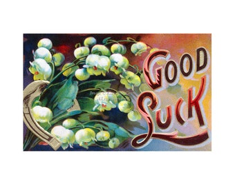 Good Luck Card | Victorian Style Notecard | Graduation Greeting Card | Lilies of the Valley