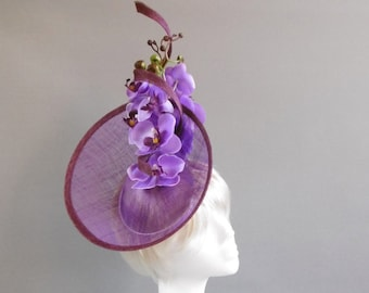 Duth design fuchsia and bordeau red and lilac deby hat with orchid flower on comb