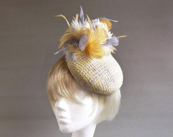 Dutch designyellow and purple lavender percer hat with many feathers on comb