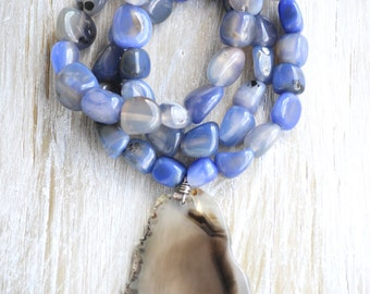 Blue Agate Necklace | Blue Beach Necklace | Blue Stone Necklace | Agate Slice Necklace | Boho Agate Necklace | Chunky Stone Necklace