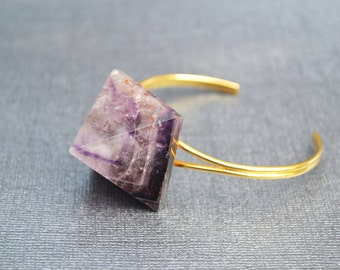 Amethyst Pyramid Cuff Bracelet, Geometric Jewelry, Metaphysical