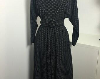 80's Black & White Polka Dot Dress