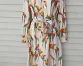 Vintage Novelty Parrot Print Polyester Day Dress