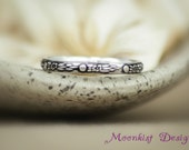 Narrow Shooting Star Silver Patterned Wedding Band - Unique Silver Floral Promise Band - Narrow Sterling Silver Galaxy Comet Band Jewelry