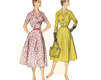 1950s Misses Dress Pattern, Flared Skirt, Wing Collar, V Neckline, FF, Bust 36, Size 18, Advance 7943 Vintage Sewing Pattern