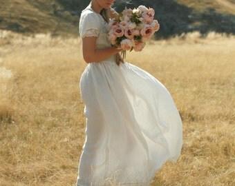 Linen maxi dress rustic, country and boho wedding dress