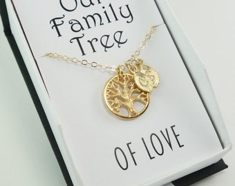 GIFT Family Tree of Life Gift Necklace Initial Sister Necklace Personalized Jewelry Bridesmaid  Mother Necklace Gift Statement Popsicledrum
