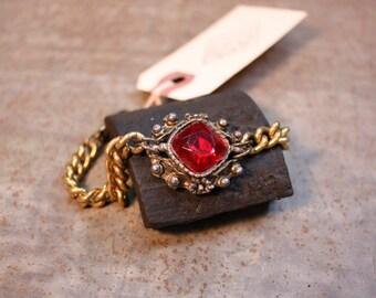Ruby Red Brass Chain Bracelet
