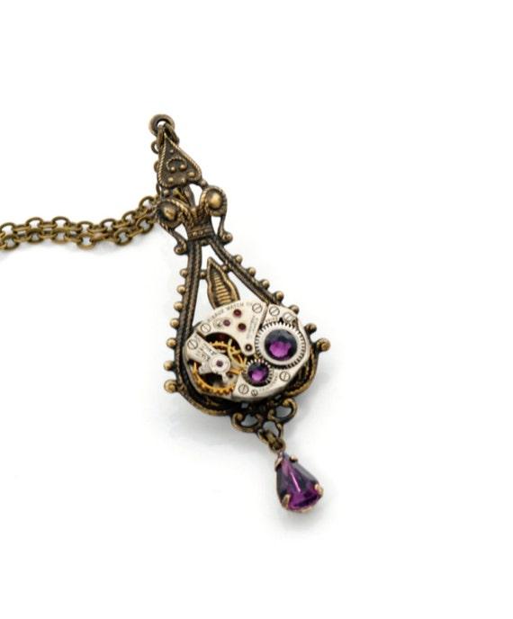 FEBRUARY Steampunk Necklace, AMETHYST Watch Necklace, Antique Brass Swarovski Steam Punk Victorian Steampunk Jewelry by VictorianCuriosities