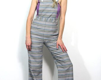 Vintage Striped Overalls Bib Buttons Off to Reveal Amazing Pants Wide Leg Stripes High Waisted