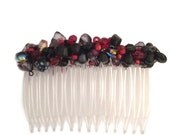 Reserved for C. Stewart Red and Black Beadwrapped Side Comb 70mm CO400