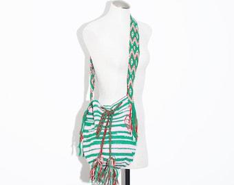 Vintage Wayuu Mochila Bag , Woven Ethnic Bag