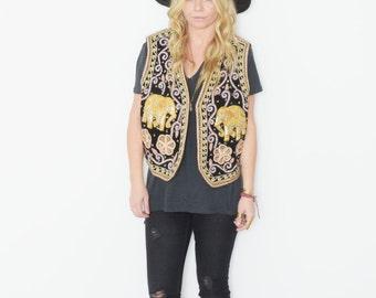 Vintage Ethnic Embroidered Elephant Vest
