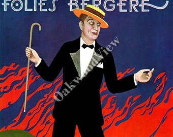 Folies Bergere Maurice Chevalier Magazine Illustration by Paul Davis, Vintage 1963 10x13 Art Deco Print, Actor & Entertainer, FREE SHIPPING
