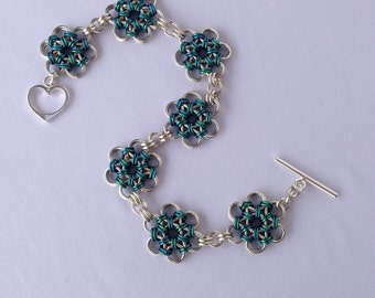 Chainmail Bracelet,  Japanese Weave,  Sterling Chainmail, St Patricks Day, Greenery, Japanese Chainmail, Colorful Chainmail, Flower