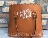 Personalized Monogrammed Brown Faux leather scalloped bag, scalloped tote, scalloped purse