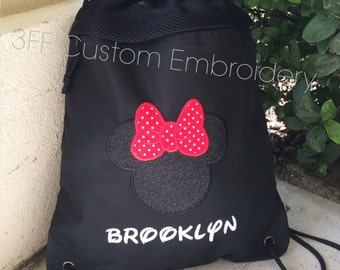 2 Pocket Canvas Drawstring Backpack Personalized Embroidered  MICKEY or MINNIE Tote