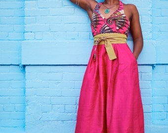 Pink Silk Shantung Halter Maxi Dress with African Wax Print Bodice, size Small