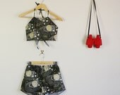 Green Space Print Twin Set Shorts and Halter Crop Summer Slumber Party Lolita Matching Set 60s 90s Star Planets