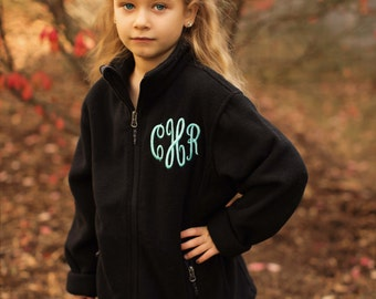 Monogrammed Jacket- Monogrammed Fleece Zip- Embroidered Jacket- Girls Jacket