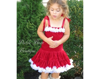 Girls Christmas Dress, Size 4T, Mrs. Claus Velour Dress, Red Dress, Pettiskirt Tutu Dress, Christmas Birthday, Baby Dress, Kids