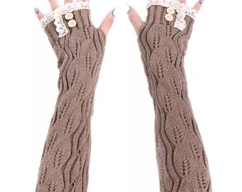 Khaki knit arm warmers fingerless gloves lace knit buttons