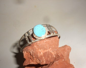 Turquoise Cuff Sterling Bracelet Sun Stamped Vintage 60s Native American/Hippie Jewelry