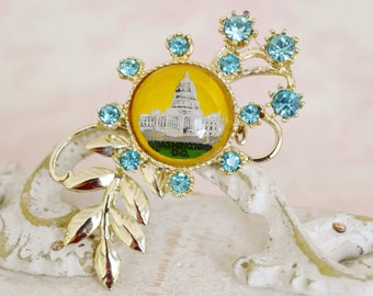 Vintage Washington DC Souvenir Brooch with Glass Image and Rhinestones