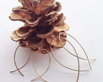 "Small Fish Hoop, Gold Wire Earrings, Ichthus Earrings, Christian Jewelry, 14K Gold Filled Hoop, 1"",  1 1/4"", 1 1/2"", 2"""