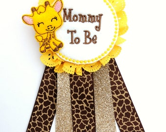 Giraffe Corsage   Giraffe Baby Shower   Safari Corsage   Giraffe Pin    Mommy To Be