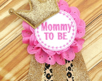 Mommy Corsage   Pink Gold Corsage   Baby Shower Corsage   Mommy To Be   Baby
