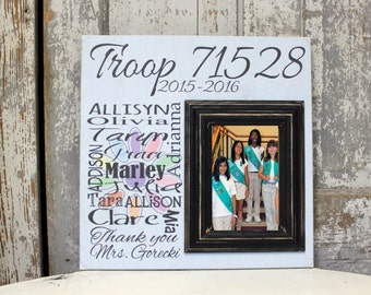 girls scout picture frame best friends gift thank you gift personalized picture frame girls scout troop troop leader gift