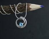 Swiss Blue Topaz Swirl Pendant, Round Sterling Silver Pendant , Circle Pendant, December Birthstone Pendant, Ready to Ship Neckwear