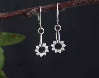 14k White Gold Diamond Dangle Earrings, Conflict Free Diamond Earrings, Drop Diamond Earrings, Ready to Ship