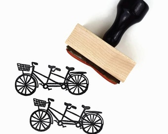 Tandem Bike Stamp - Beach Cruiser Bicycle Built for Two - Hand Drawn Rubber Stamp - Sunny Summer Stamps