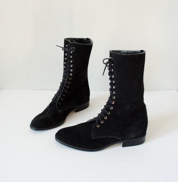 1970s vintage boots black suede lace up boots size 6