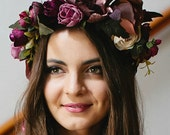 Flower Crown Headband Flower Headpiece Floral Crown Wedding Flower Crown Bridal Flower Crown Headband Floral Flower Crown Weddings  Marsala