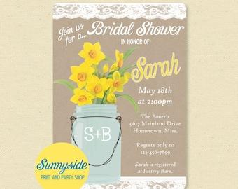 Daffodil Bridal Shower Invitation, Mason Jar, Yellow, Spring Wedding Shower Invite, Printable