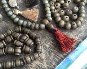 Olive Grey Brown Bone Guru Beads, 8mm, 3 sets (6 beads), for Mala, Bracelet, Yoga Jewelry Making Supplies, Natural Bohemian, Boho Zen Style