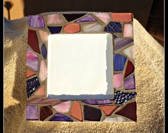 Purple Stained Glass Picture Frame, stained glass mosaic, purple stained glass, mosaic picture frame