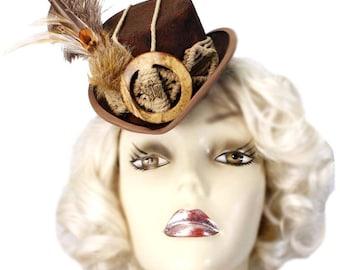 Brown Mini Top Hat Gypsy Explorer Fascinator Victorian Steampunk Tea Party Cosplay