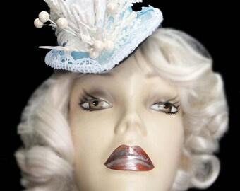 Mini Frozen Fascinator Top Hat Frozen Elsa White Snow Steampunk Tea Party Cocktail