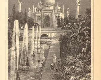 1905 Original Antique Engraving of the Taj Mahal