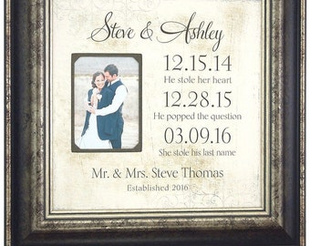 Personalized Picture Frame, Important Special Dates, Wedding Photo Frame, wedding gift bride groom, engagement photo frame,, 16 X 16