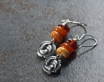 Fine silver Celtic charm and Baltic amber earrings