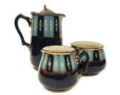 Antique Coffee Set c.1900 Hand Painted Stoneware Jug, Creamer, Sugar Bowl Blue and White