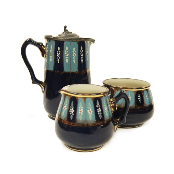 antique caf set cruche de gr s peint main creamer. Black Bedroom Furniture Sets. Home Design Ideas